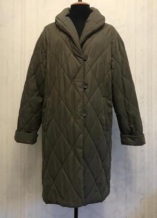 Зимнее стёганное пальто хаки