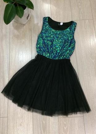 Платье в паетки с юбкой из фатина размер 6-8 h&m