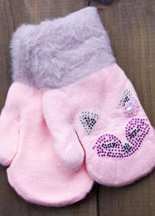 Детские варежки цвет светло-розовый 0074-9
