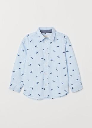 Котоновая рубашка в полоску с драконами 8/9 лет h&m
