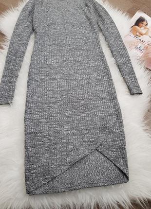Серое облегающее платье в рубчик мини  river island4 фото