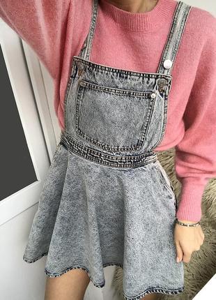 Джинсовый сарафан с пышной юбкой, джинсовый комбинезон monki