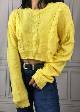Лимонний вкорочений світшот, кроп-топ, светрик, кофта missguided