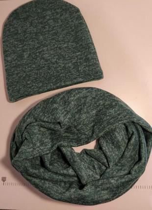 Изумрудный набор.шапка + двойной снуд с ангоры софт
