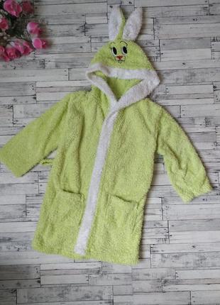 Детский махровый халат с ушками зайка