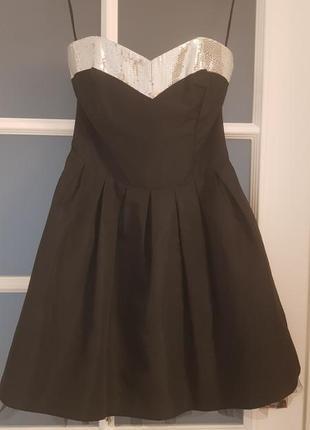 E-vie платье черное из тафты без брителек с пышной юбкой расшито паетками размер s