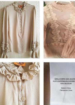 Брендовая блуза из 100% шелка в викторианском стиле !