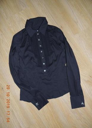 Фирменная рубашка karen millen сорочка черная чорна р.42 запонки
