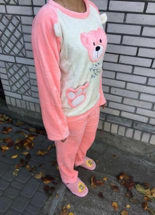 Женская плюшевая пижама с мишкой единый размер