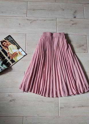 Красивая шифоновая юбка миди плиссированная l xl