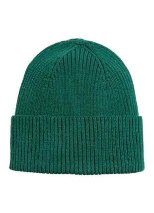 Теплая тоненькая шерсияная вязаная шапка