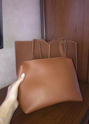 Новая сумка-комплект в оттенке «кемел»