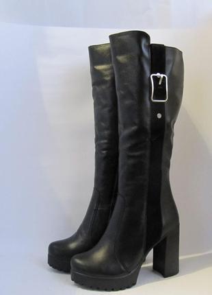 Шикарные сапоги,ботфорты на устойчивом каблуке/высокие сапоги/ботфорди/чоботи зимові