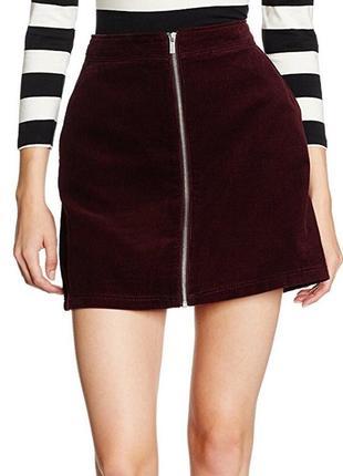 Трендовая вельветовая юбка трапеция с завышенной талией на молнии цвета марсала