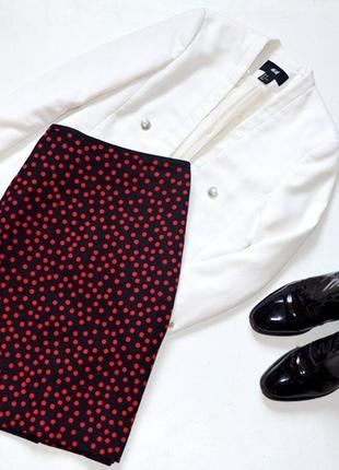 Стильная юбка в красный горох,карандаш из плотной ткани