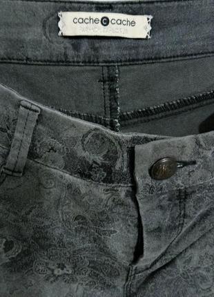 Cache cache джинсы женские стретч серые в цветочки размер 38