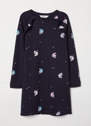 H&m платье с единорожками из плотного хлопка на 2-4 года