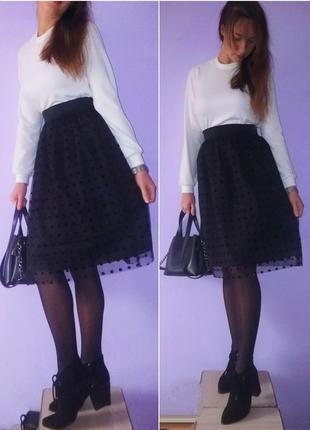 Пышная фатиновая миди юбка в бархатный горошек! размер универсальный!