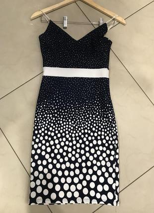 👑♥️final sale 2019 ♥️👑   милое мини платье с принятом в горошек темно синее