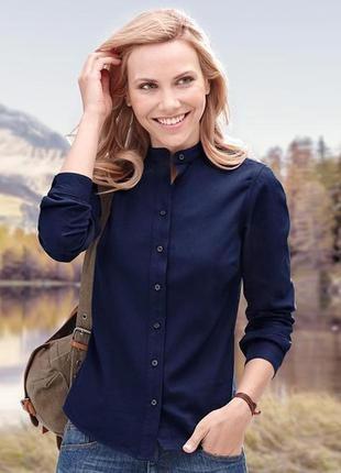 Синяя хлопковая женская рубашка на пуговицах tcm tchibo германия