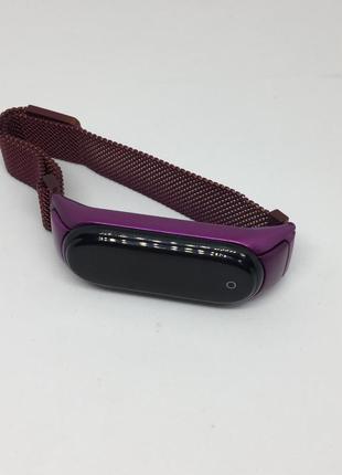 Ремешок mi band 3 ми бенд 4 фиолетовый ☔️ металлический на магните