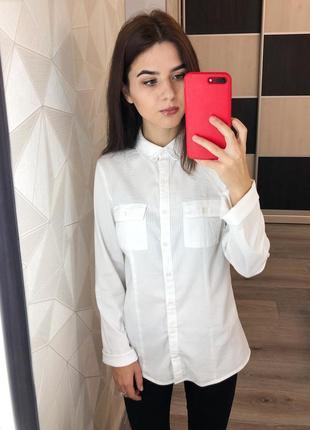 Белая рубашка с воротником в мелкую полоску xs