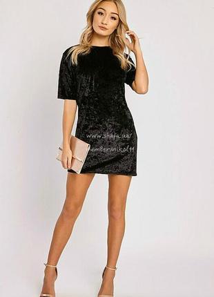 Стильное маленькое черное платье прямого кроя 😍 вельвет бархат