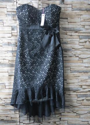 Шикарное новое нарядное платье-бюстье  черного цвета 46 размер rise