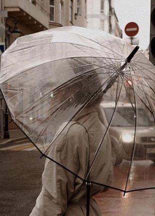 Топ качество! ❤16 спиц прозрачный женский зонт трость полуавтомат в чехле
