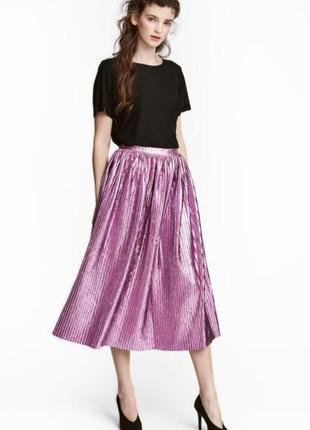 Плиссированая гофрированная  юбка бархатная яркая