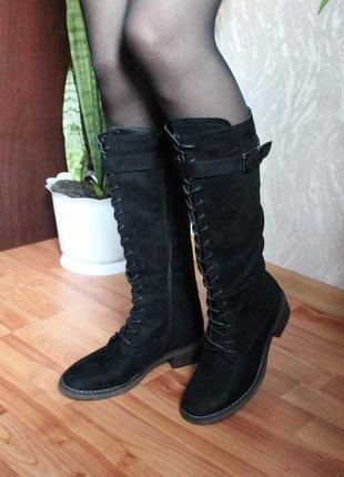 Черные сапоги под колено со шнуровкой еко кожа 39 размер 39.5