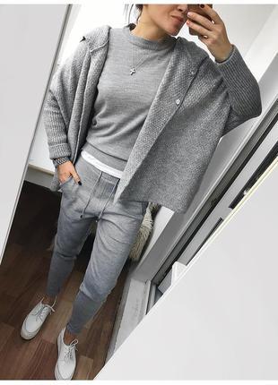 Новый шерстяной вязаный прогулочный костюм двойка, вязаные брюки и свитер