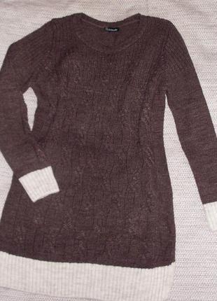 Вязанный свитер туника платье зимний джемпер кофта