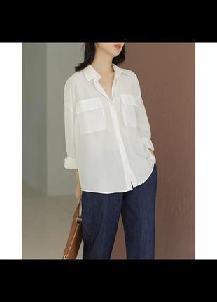 Рубашка блуза oversize с накладными карманами