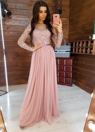 Вечернее платье в пол сетка с кружевным верхом