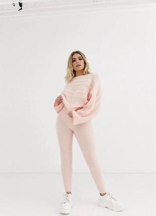 Персиковый розовый новый вязаный костюм
