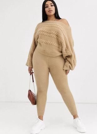Большие размеры костюм вязаный бежевый женски новый