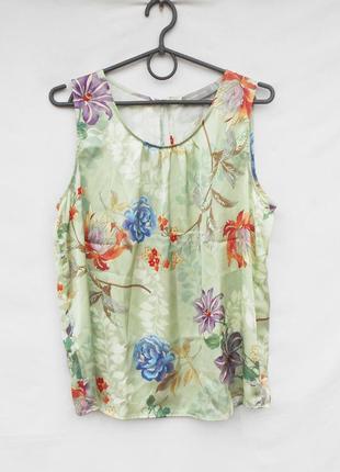 Шелковая  летняя блузка топ в цветы