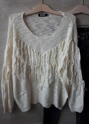 Белый джемпер / свитер с бахромой sophie