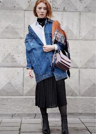 Куртка oversized длинная деним синяя1 фото