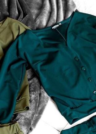 Костюм свитшот декольте брюки штаны изумрудного цвета