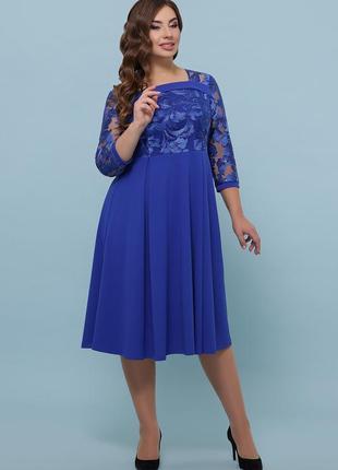 Нарядное синее платье size+
