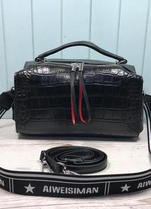 Женская кожаная сумка черная со структурой крокодила жіноча шкіряна чорна