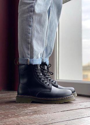 Теплые кожаные зимние ботинки dr martens в черном цвете с мехом - зима😍