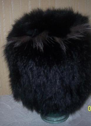 Шапочка вязаная из натурального меха кролик брэнд  classic fashion