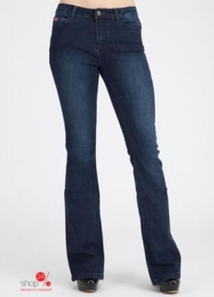 Джинсы/брюки- клеш синие в полоску с подворотами.