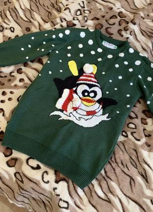 Свитер новогодний зимний зелёный пингвин снег снеговик новый год унисекс