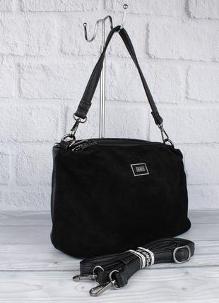 Мягкая, удобная сумочка gilda tohetti 62105-1 черная с замшевой вставкой