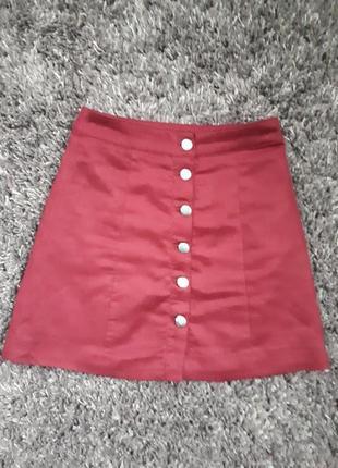 Трендовая бордовая юбка