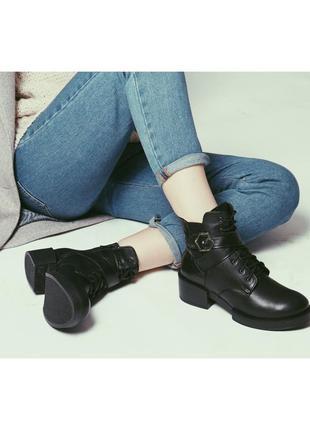 Зимние кожаные ботинки на овчине - распродажа зимней коллекции!